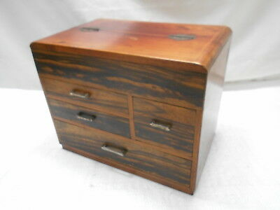 Vintage Kiri and Persimmon Wood Sewing Box Japanese Drawers C1950s #798
