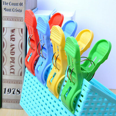 12PCS Large Bright Colour Plastic Beach Towel Pegs Clips To Sunbed Quilt Clips