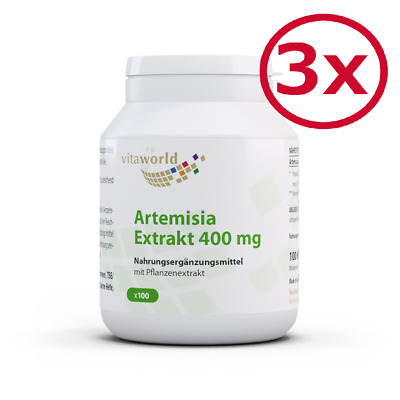 3 Pack Artemisia annua extract 400mg 300 Capsules Vita World Made in Germany