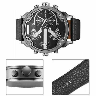 Men's Quartz Watch Fashion Casual Round Business Wristwatches Analog PU Leather
