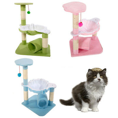 "New 28"" Pet Cat Tree Condo Play House Scratcher Furniture Post Bed Basket"