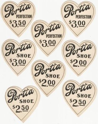 Eight 1920s-30s Portia Shoe Heart-Shaped Price Cards - Chicago Woman Shoemaker