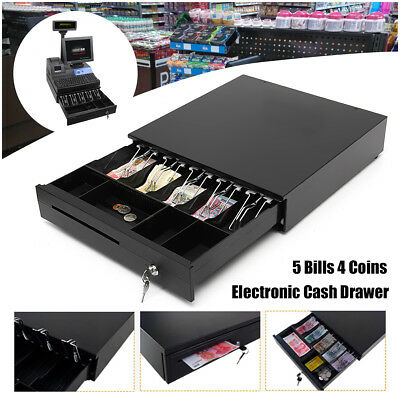 RJ11 Heavy Duty Electronic Cash Draw/Drawer Register POS 5 Bills 4 Coins Tray