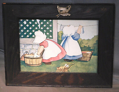 Antique Arts Crafts Dark Oak Character Frame Sun Bonnet Baby Print 1915 Mission