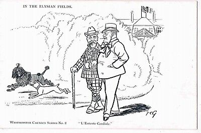 SATIRE -EDWARD V11 & EMILE LOUBET-L'ENTENTE CORDIALE-IN THE ELYSIAN FIELDS,1900s