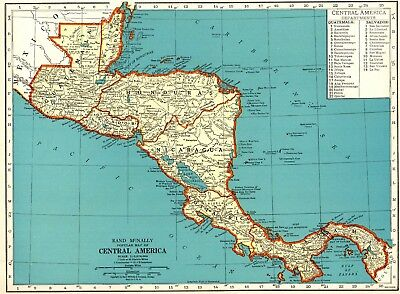 1940 Vintage Map of CENTRAL AMERICA Antique Map of Costa Rica Honduras 5555