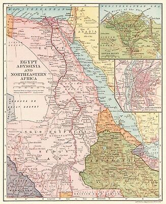 1906 Antique Map of EGYPT Vintage Map of Egypt & Abyssinia Ethiopia Map 5559