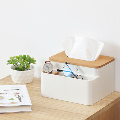 Tissue Box Holder Wooden Cover Paper Napkin Case Storage Organizer Container