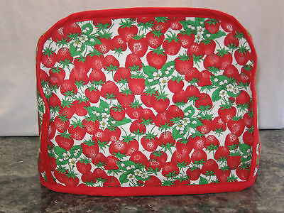 Lots of Strawberries cotton fabric Handmade 2 slice toaster cover ONLY