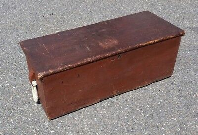 Antique Sea Chest Old Red Paint w/ Rope Beckets, Maritime,Nautical,Navy,Folk art