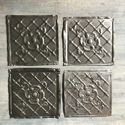 "Reclaimed 1890's Antique Tin Ceiling Tiles 4- 6"" x 6 Vintage Metal Silver 464-18"
