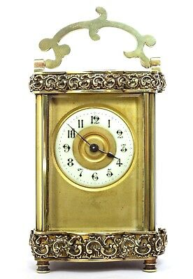 Antique French Serpentine Filgree Doucine Carriage Clock, Gilt Brass, Couaillet