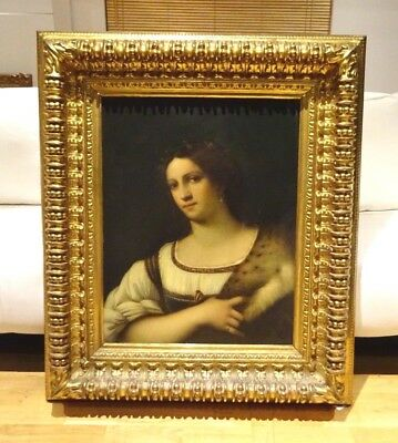 Fine Large 19h Century Portrait Italian Old Master Lady Antique Oil Painting