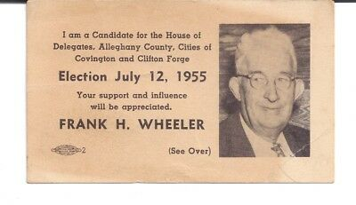 1955 Frank H. Wheeler Delegate Alleghany County Covington Clifton Forge Virginia