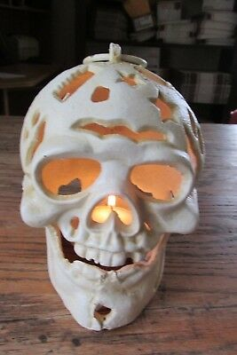 Cast Iron  Pirate Skull  Candle Holder Wicca Halloween