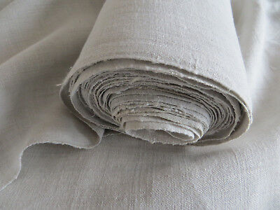 """Antique  Handwoven White Of Cream    Linen Fabric 26    """"by 7.40 Yards Unused"""