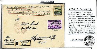 1936  Graf Zeppelin  Leichtenstein  Registered Cover with Letter to USA  (Au639)