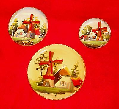 Lot 3 vintage Dutch hand painted Wood Plate WINDMILL wallhanging Holland - work