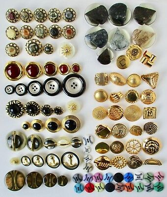 Assortment of 103 Vintage Plastic and Metal Buttons, Arrow Head, Acid Etch
