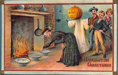 Halloween Postcard Blindfolded Woman Playing Games Jack-O-Lantern Man~114322