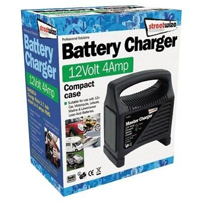 Streetwize Swcbc4 Compact Plastic Cased Battery Charger 12 V 4 A - Amp