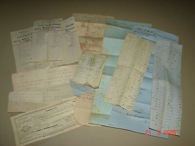Antique West Newbury, Ma. Receipts and Papers, Some Dating to Pre Civil War