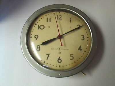 "Vintage Edwards Electric 9 1/4"" Wall Clock School Clock Condition Issues"