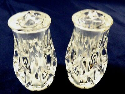 Clear Crystal Glass  Solid Top Salt & Pepper Shakers Set Of 2