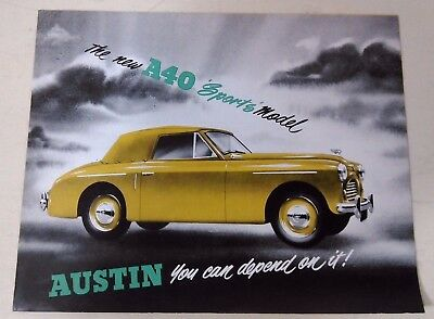 Vintage old 1950's Car Sale Brochure -  1951 AUSTIN A40 Sports Model -