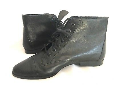 99435aea6dad8 VINTAGE 80S 90S Ankle lace up Flats BOHO Pointy Toe Pixie Pirate Boots 6  Brazil