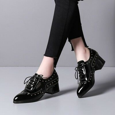 Womens Pointed Toe Retro Rivet Brogue Lace Up Patent Leather Block Heel Shoes US
