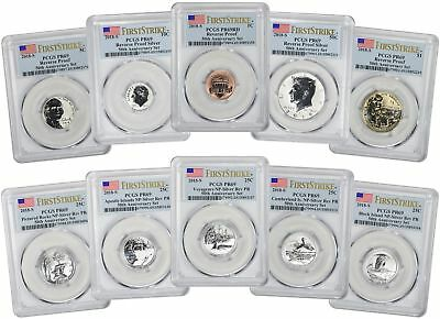 2018-S Silver Reverse Proof 10-Coin Set PR69 PCGS First Strike Flag Label