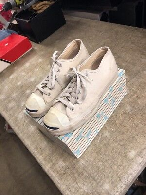 f6048fdd43a2 1980s CONVERSE JACK PURCELL WHITE CANVAS CLASSIC SNEAKERS USA Sz 8.5 994  Vintage