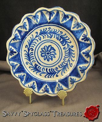 Tin Glazed Earthenware Delft Spain Portugal Pottery Blue & White Scalloped Plate