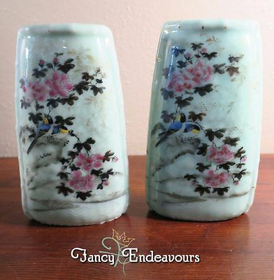 TWO Antique Chinese Celadon Porcelain Wall Pockets Enamel Birds