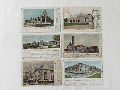 Lot Of 6 Postcard World's Fair - St. Louis 1904 ~ With Stamp Cancel