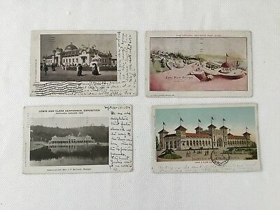 Lot Of 4 Lewis And Clark Exposition Portland Oregon 1905 ~ With Stamp Cancel