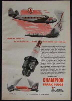 1945 Champion Spark Plug National Airlines Buccaneer Route vintage AD