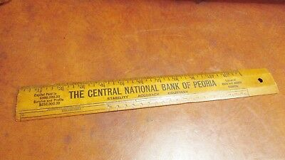 Vintage Wooden Ruler Central National Bank Of Peoria Advertising Promo History