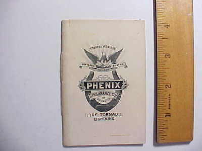 1894 Phenix Fire Insurance Miniature Book For Card Game Whist  Vg+