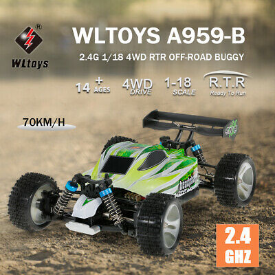 USA Dealer WLtoys A959-B 2.4G 1/18 4WD 70KM/h Electric RTR Off-road RC Car Gift
