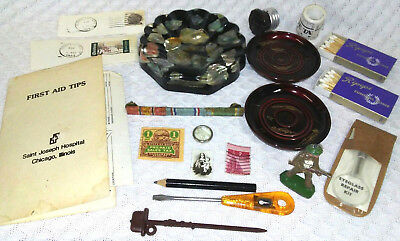 Vintage Junk Drawer Lot Metal Toy Soldier Stamps Wood Matches Hawaii Ashtray LOT