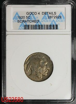 1920 BUFFALO NICKEL ANACS G-4 Details Scratched OLD HOLDER