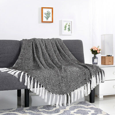 50''x 60'' Knitted Throw Blanket Geometric Pattern Tassels Sofa Outdoor Picnic