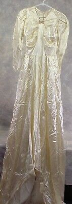 Vintage Wedding Dress Cream Satin With Lots Of Buttons In Back  1940's