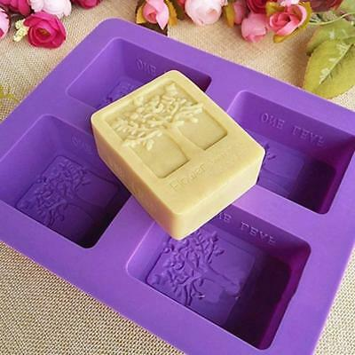 Tree Of Life 4 Cell Rectangular Silicone Mold DIY Handmade Cooling Soap Mould