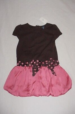 NWT Baby GAP Girls BRYANT PARK Brown & Pink Polka Bow Drop Waist Dress Sz 2T