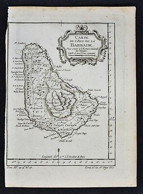 c. 1758 Bellin Map - Isle de Barbade or Barbados - West Indies Caribbean Island