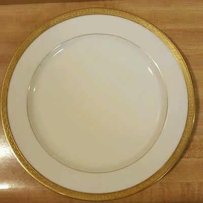 "Vintage Limoges France Old Abbey 8.5"" Luncheon Plate Greek Key Gold"