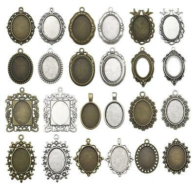 Antique Silver Bronze Cameo Cabochon Base Setting Pendant Charms DIY Crafts H